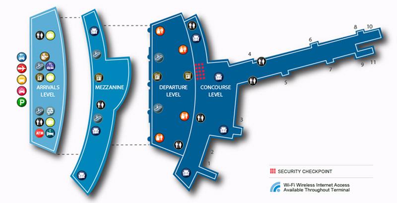 Carte du terminal 1 de l'aéroport JFK