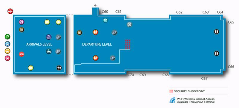 Carte du Terminal 2 de l'aéroport JFK
