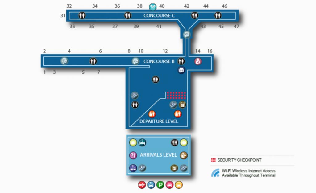 Carte du Terminal 8 de l'aéroport JFK